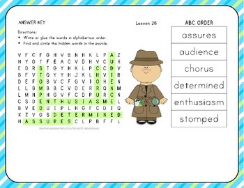 ABC Order with Word Search - The Kite - 1st Grade Lesson 28