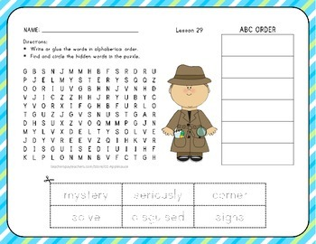 ABC Order with Word Search - Hi! Fly Guy - 1st Grade Lesson 29