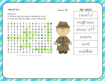 ABC Order with Word Search - Winners Never Quit! - 1st Grade Lesson 30