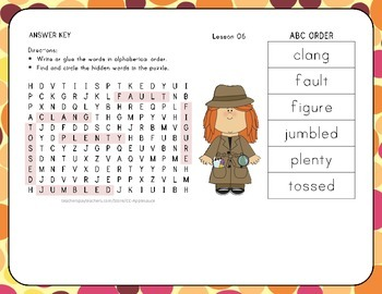 Word Search with ABC Order - Jack and the Wolf - 1st Grade Lesson 6