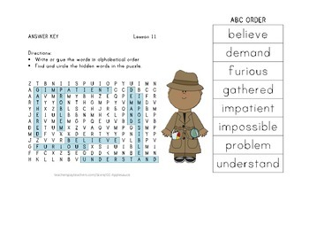 ABC Order and Word Search - Click, Clack, Moo - Journeys Aligned