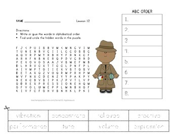 ABC Order and Word Search - Ah, Music! - Journeys Aligned