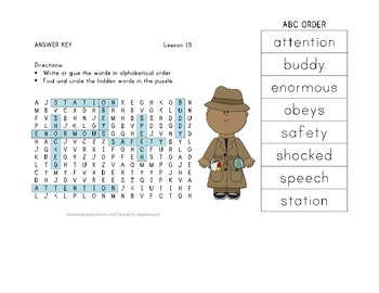 ABC Order and Word Search - Officer Buckle and Gloria - Journeys Aligned
