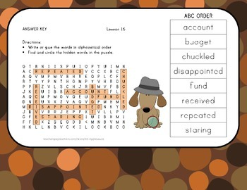 ABC Order and Word Search - Mr. Tanen's Tie Trouble - 2nd Grade Lesson 16