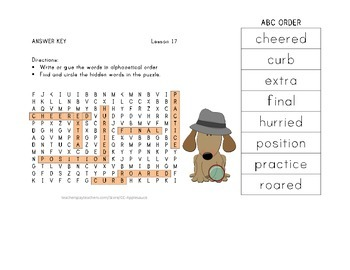 ABC Order and Word Search - Luke Goes to Bat - 2nd Grade Lesson 17