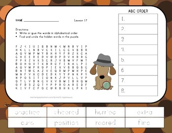 ABC Order and Word Search - Luke Goes to Bat - 2nd Grade L