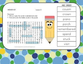 ABC Order and Word Search - My Family - Journeys Aligned