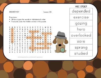 ABC Order and Word Search - Dex: The Heart of a Hero - 2nd Grade Lesson 20