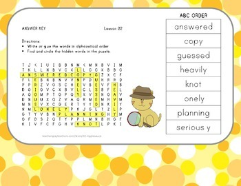 ABC Order and Word Search - Gloria Who Might Be My Best Friend - Lesson 22