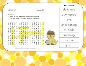 ABC Order and Word Search - The Goat in the Rug - 2nd Grade Lesson 23