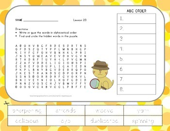 ABC Order and Word Search - The Goat in the Rug - 2nd Grad