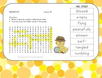 ABC Order and Word Search - Half-Chicken - 2nd Grade Lesson 24