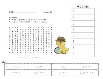 ABC Order and Word Search - From Seed to Plant - 2nd Grade Lesson 25