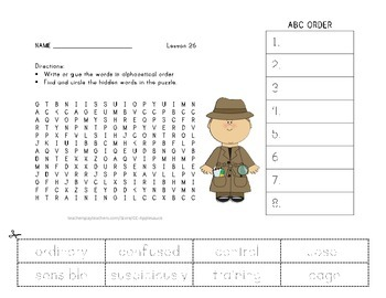 ABC Order and Word Search - The Mysterious Tadpole - 2nd Grade Lesson 26