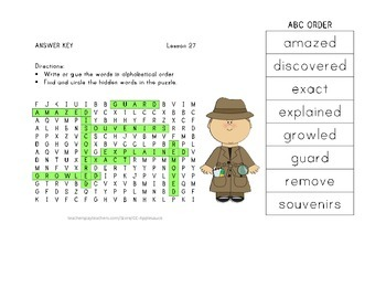 ABC Order and Word Search - The Dog That Dug for Dinosaurs - 2nd Grade Lesson 27
