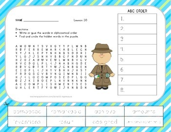 ABC Order and Word Search - Now and Ben - 2nd Grade Lesson 30