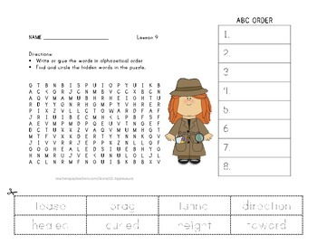 ABC Order and Word Search - How Chipmunk Got His Stripes - Journeys Aligned