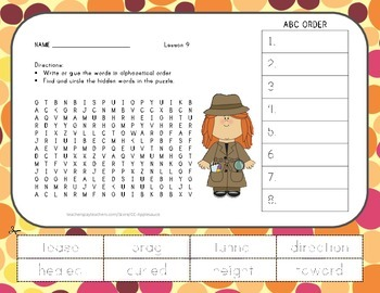 ABC Order and Word Search - How Chipmunk Got His Stripes -