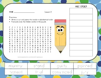 Word Search with ABC Order - The Trial of Cardigan Jones - Journeys Aligned