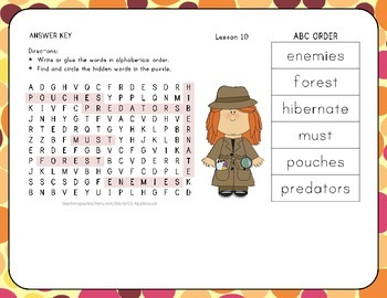 ABC Order with Word Search - A Cupcake Party - 1st Grade Lesson 10
