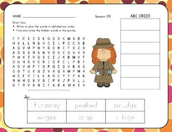 ABC Order with Word Search - A Musical Day - 1st Grade Lesson 8