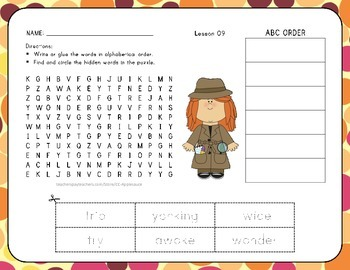 ABC Order and Word Search - 1st Grade Lesson 9