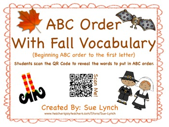 ABC Order~Fall Halloween Bats Thanksgiving Vocabulary- word work center QR CODES
