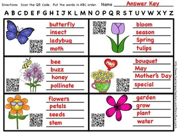 ABC Order~Spring & End of the Year Vocabulary- Print and Go with QR CODES