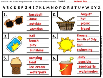ABC Order~Summer Vocab~Beach Day-INDEPENDENT word work~Color & Black & White