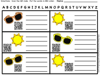 ABC Order~Summer Vocabulary~Beach Day-INDEPENDENT word work center with QR CODES