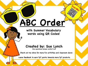 ABC Order~Summer Vocabulary~Beach Day-INDEPENDENT word wor