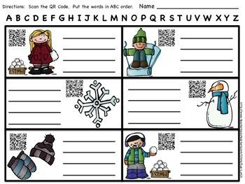 ABC Order~Winter Vocabulary-Christmas Valentines President