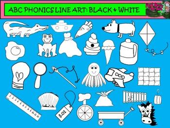 ABC PHONICS SET CLIP ART: Black Line