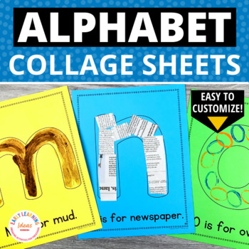 Alphabet Activities   Letter Collage Sheets   Editable ABC Activity Pages