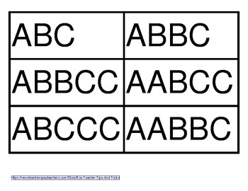ABC Pattern Cards **Great for Workshop Games**