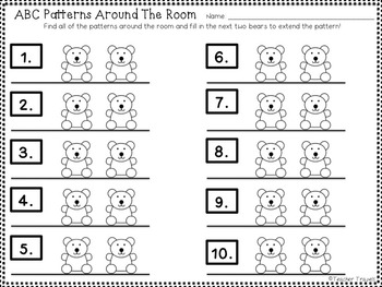 ABC Patterns Around the Room - Colorful Bears