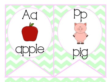 ABC Pennant Banner Bunting Pink, Mint, Purple