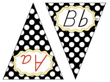 ABC Pennant Banner {black and white polka dots with yellow accents}
