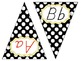 ABC Pennant Banner {black and white polka dots with yellow