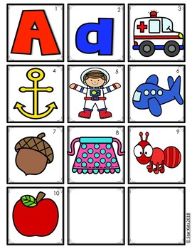 Back to School ABC Picture Cards for Kindergarten and First Grade