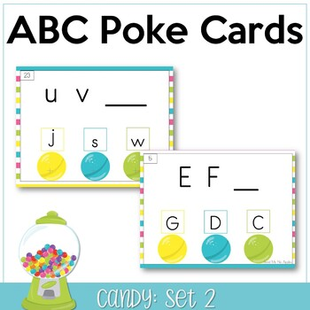 ABC Poke Cards Set 2 {identify 2nd missing letter} - Candy Theme