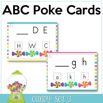 ABC Poke Cards Set 3 {identify 1st missing letter} - Candy Themed