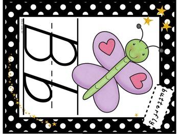 ABC Poster Set (Polka Dots and Gold Stars Theme!) FREEBIE!