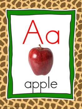 Alphabet Poster Wall Cards Border Giraffe Print