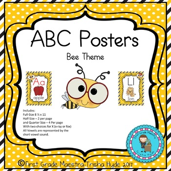 ABC Posters- Bee Theme Alphabet Cards with White Dot Background 3 Sizes