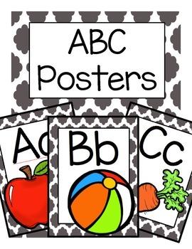 ABC Posters (Black Quatrefoil)