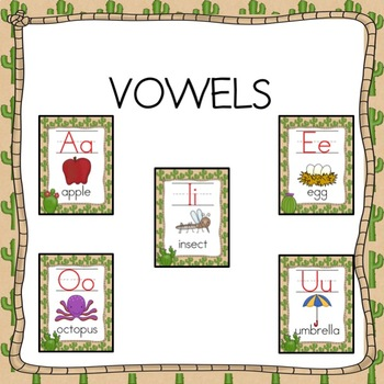 ABC Posters- Cactus Desert  Theme Alphabet Cards  3 Sizes
