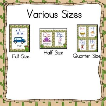 ABC Posters- Cactus Desert  Theme Alphabet Cards  3 Sizes