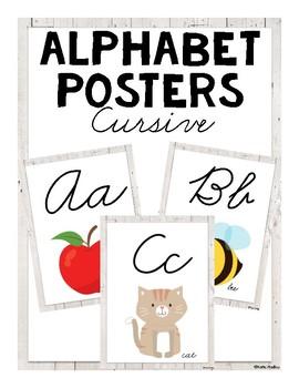 ABC Posters (Cursive) - White Wood