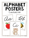ABC Posters (Cursive) - White Wood